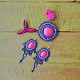 Náušnice - Fuchsia - vyšívané náušnice - 9130647_