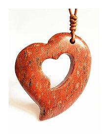 Náhrdelníky - Srdce v srdiečku (červený jaspis) - 9132706_