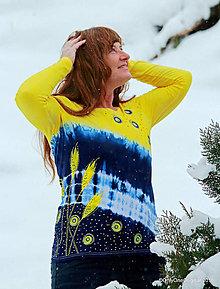 Tričká - Dámske tričko batikované, maľované ORION - 9132119_