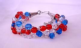 Náramky - Červeno-modrý náramok - 9133744_