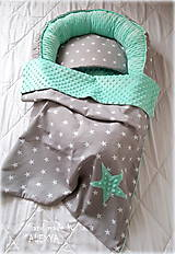 Textil - set pre bábätko hviezdy a minky mint - 9132949_