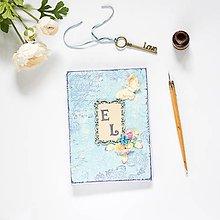 Papiernictvo - Kniha hostí modro-béžová s motýlikom, kvetmi a iniciálami snúbencov - 9129529_