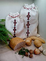 Úžitkový textil - Darčeková sada - ľanové vrecká z ručne tkaného plátna - 9134439_