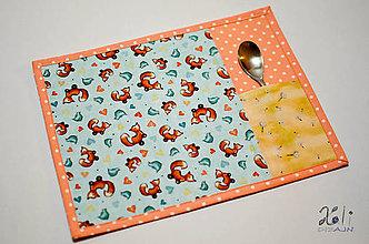 Textil - Detské prestieranie s vreckom na príbor Líštičky - 9133468_