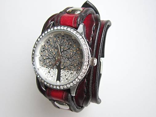 27654fd3ddb4 Dámske hodinky kožený remienok čiernočervený   leon - SAShE.sk ...