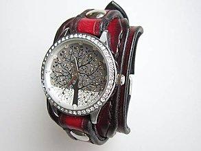 Náramky - Dámske hodinky kožený remienok čiernočervený - 9134324_