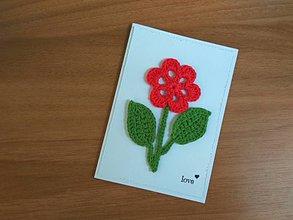 Papiernictvo - pohľadnica - Červená kvetinka - 9132930_