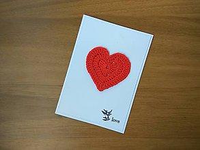Papiernictvo - Pohľadnica - Háčkované srdiečko - 9133000_