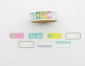 Papier - detské nálepky farebné - washi, kreativne, dekoračné, ozodbné, papierové lepiace pásky - 9129506_
