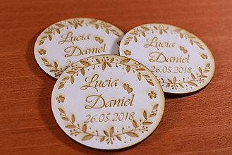 Darčeky pre svadobčanov - Svadobná magnetka drevená gravírovaná 143 - 9129776_