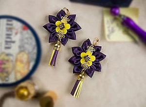 Náušnice - Náušnice: Kvety so strapcom (Fialovo-žlté) - 9130652_