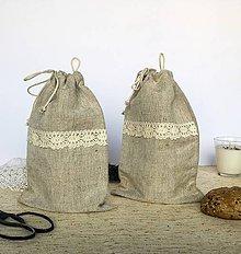 Úžitkový textil - Ľanové desiatové vrecúško s uškom - 9132678_
