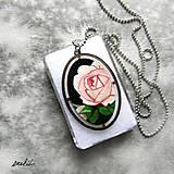 """Náhrdelníky - Malovaný medailon """"Růže"""" - 9130349_"""