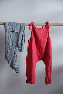 Iné oblečenie - Detský ľanový overal (Biela) - 9137821_