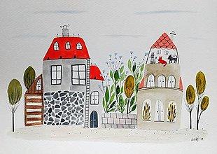 Obrazy - Mačací dom ilustrácia  / originál maľba  - 9136199_