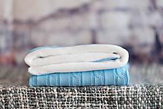 Textil - Detská deka na zimu, pletený vrkoč - bledomodrá - 9134960_