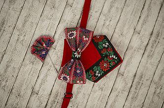 Doplnky - Pánsky folk set motýlik, vreckovka, ozdoba do klopy - 9134630_
