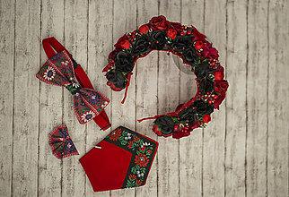 Doplnky - Pánsky folk set motýlik, vreckovka, ozdoba do klopy (Vreckovka do saka) - 9134645_