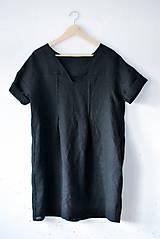 Šaty - Ľanové šaty NORA čierne - 9137034_