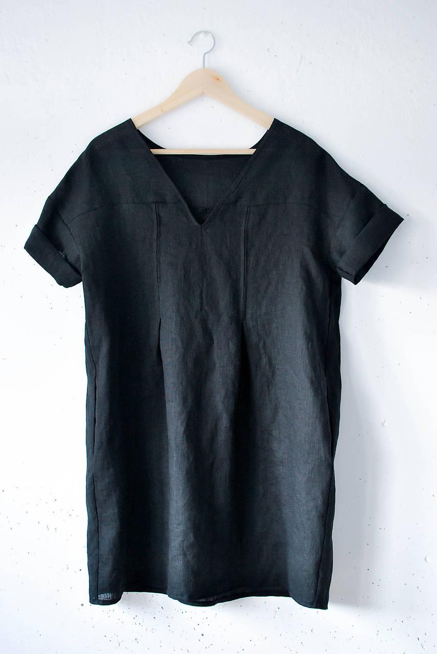 Ľanové šaty NORA čierne