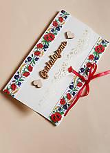 Papiernictvo - folklórna obálka, pohľadnica na peňažný dar mladomanželom - 9134866_