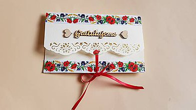 Papiernictvo - folklórna obálka, pohľadnica na peňažný dar mladomanželom - 9134865_