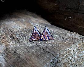 Náušnice - Trojuholníčky 10 mm s kovovým efektom (medeno - modrá) - 9137164_