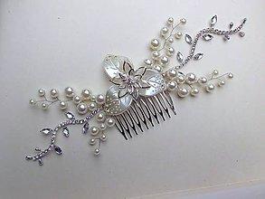 Ozdoby do vlasov - svadobný hrebienok so štrasom - 9135627_