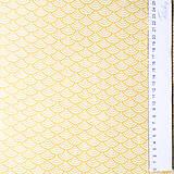 Textil - žlté vlnky; 100 % bavlna Nemecko, šírka 140 cm, cena za 0,5 m - 9137125_