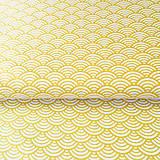 Textil - žlté vlnky; 100 % bavlna Nemecko, šírka 140 cm, cena za 0,5 m - 9137130_