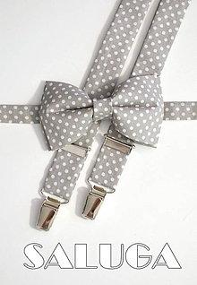 Doplnky - Pánsky set motýlik a traky - sivý na biele bodky / šedý - 9137339_