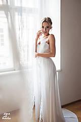 Šaty - Svadobné šaty z krajky na ramienka so šifónovou vlečkou rôzne vzory - 9137998_