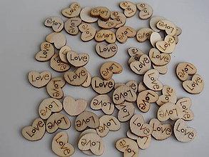 Galantéria - Drevené srdiečko Love - 9135319_