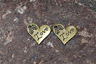 Komponenty - Kovová ozdoba - srdce Love 2x2cm - 9137946_
