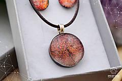 Sady šperkov - Škoricovo-oranžová sada sklenených šperkov - 9134805_