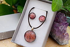 Sady šperkov - Škoricovo-oranžová sada sklenených šperkov - 9134807_