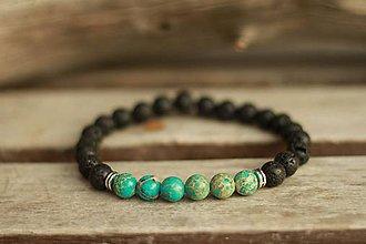 Šperky - Pánsky náramok z minerálu jaspis regalit a láva - 9137559_