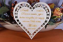 Darčeky pre svadobčanov - Poďakovanie Rodičom srdce vyrezávané 1 - 9137296_