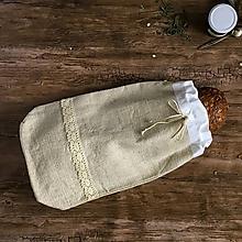 Úžitkový textil - Podšité ľanové vrecko na chlieb - 9137401_