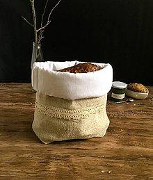 Úžitkový textil - Podšité ľanové vrecko na chlieb - 9137405_