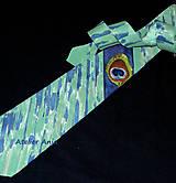 Doplnky - Hodvábna kravata - pávie oko - 9137624_