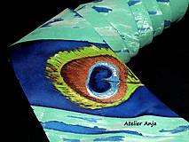 Doplnky - Hodvábna kravata - pávie oko - 9137625_