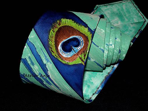 Hodvábna kravata - pávie oko