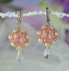 Náušnice - Svadobné náušnice ružové zlato, Swarovski, mosadz - 9137361_