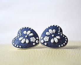 Náušnice - Folk srdiečka modré MAXI - 9142770_