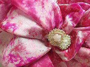 Šatky - Cherry blossom set – hodvábna šatka + polodrahokamová spona na uchytenie hodvábu - 9140568_