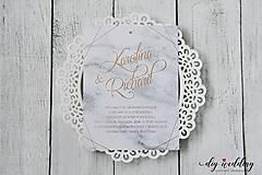 Papiernictvo - Svadobné oznámenie Mramorová Láska - 9139261_