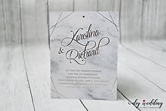 Papiernictvo - Svadobné oznámenie Mramorová Láska - 9139262_