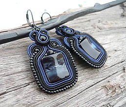 Náušnice - Soutache náušnice Deep Black Sea - 9142410_