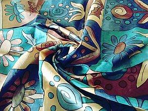Šatky - Hodvábna šatka s motívom kvetov - 9139789_